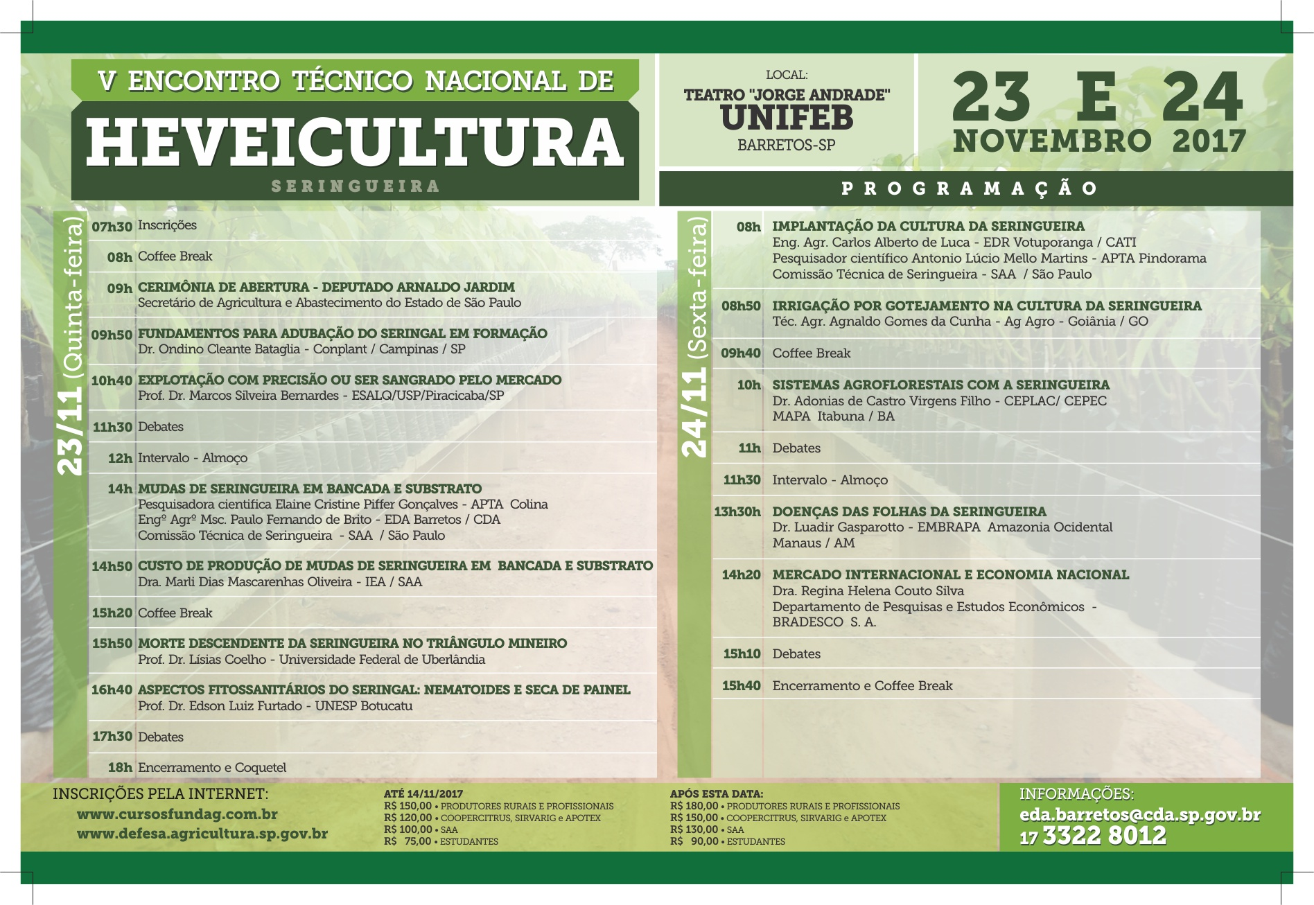 Folder 5o Encontro Tecnico Heveicultura 2017 Interno